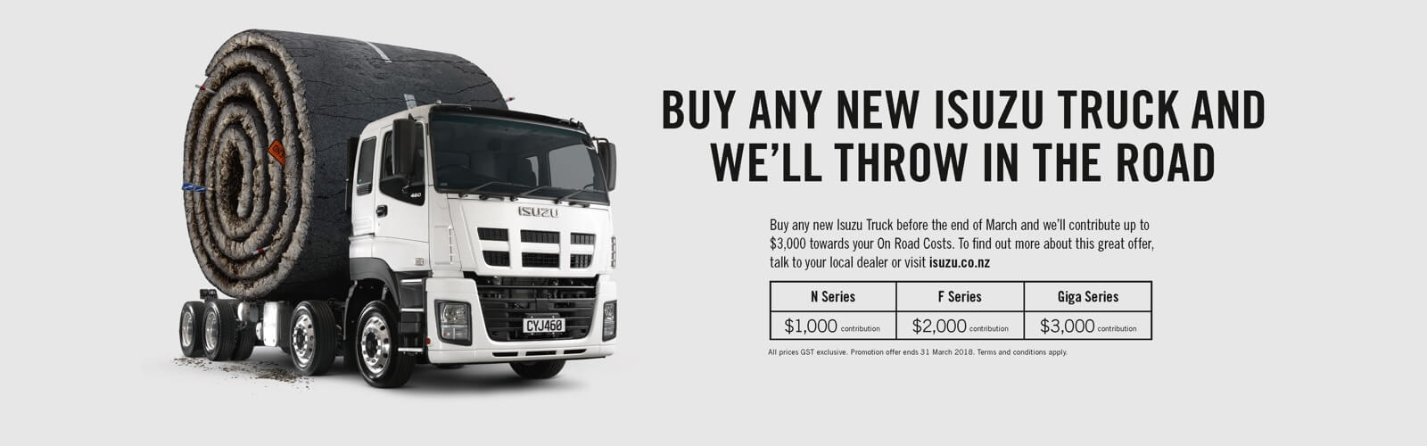 Buy Any New Isuzu and We'll Throw in the Road