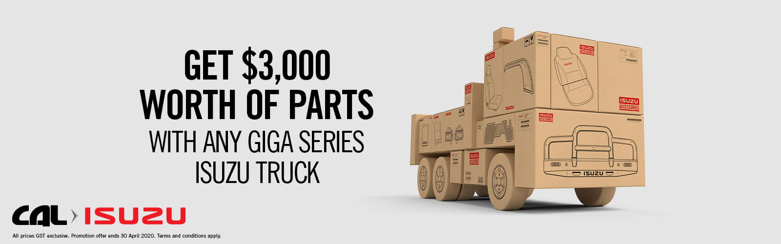 Get $3,000 Worth of Parts with Any Giga Series Isuzu Truck